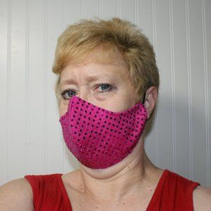 HANDMADE Hot Pink Sequin Fabric Face Mask Shield